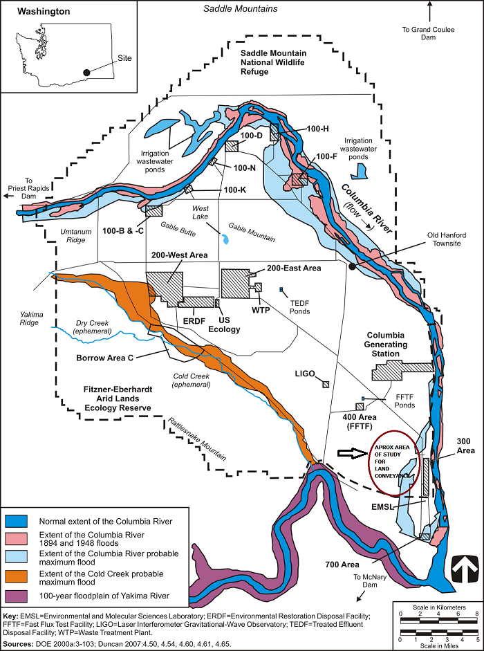 Figure 3–11. Floodplains on the Hanford Site -- shows that Focus Study Area for Land Conveyance is prone to flooding.