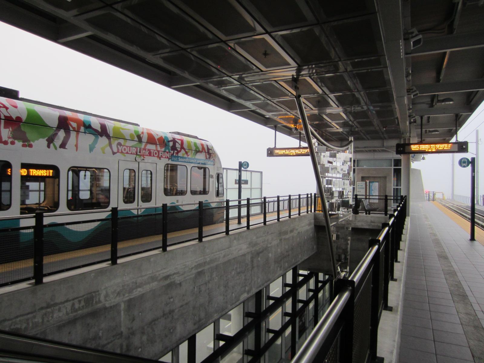 Central Link Light Rail (LLRT) arrives at Sea-Tac Airport. Seattle