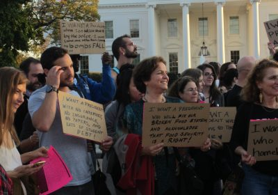 I want a president… Poetry Reading in front of the White House on October 16, 2016 (Photo by AGN)