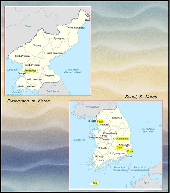 Map of N. Korea (DPRK) and S. Korea (ROK) with Korean Demilitarized Zone (DMZ) dividing the two Koreas. Also Seongju shown where THAAD recently installed. (Adapted by AGN from Wikipedia)