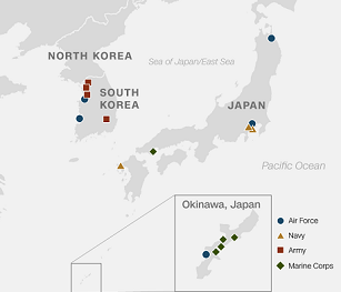 Map of Far East Command Bases (US Department of Defense)