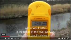 Measurement at River Gohyaku, Motomiya, Fukushima Prefecture