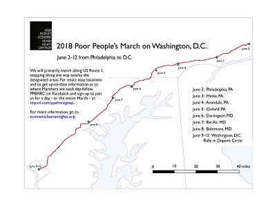 Poor People's Campaign marching from Philadelphia, PA to Washington DC June 2 - June 12, image from economichumanrights.org
