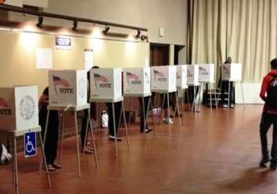 Voter booths, Fresno State,