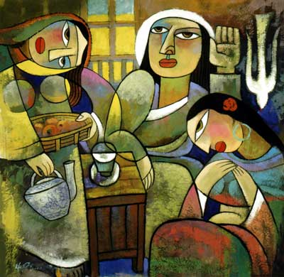 Jesus, Mary and Martha, painting by He Qi